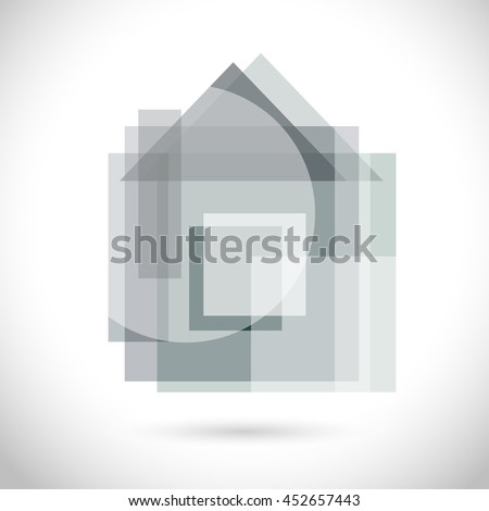 Home Modern greyscale color Icon for web, app. New polygonal concept, art design gray symbol. Logo geometric sign isolated on white. Vector illustration in creative style. - stock vector