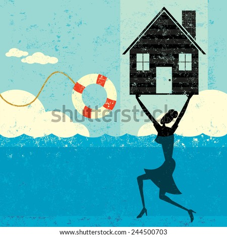 Home Mortgage Help A woman holding her house up, while treading water, about to be saved by a life preserver. The woman, house, and life preserver is on a separate labeled layer from the background. - stock vector
