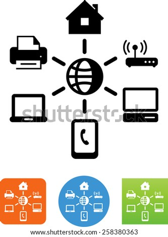 Home network symbol. Vector icons for video, mobile apps, Web sites and print projects. - stock vector