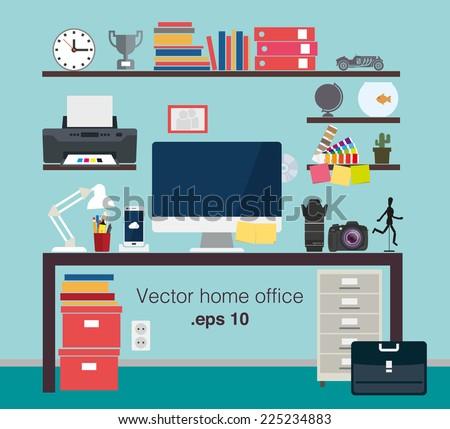 Home office vector set - stock vector