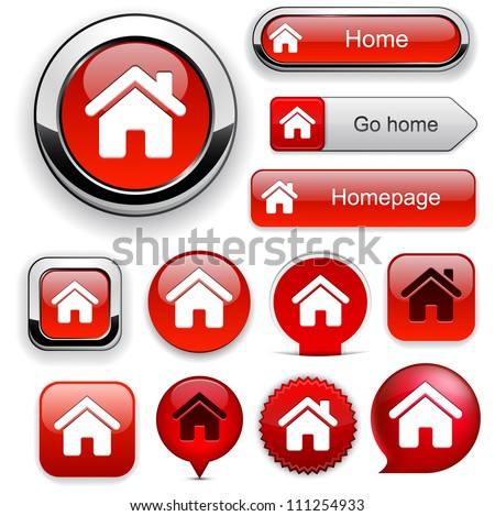 Home red design elements for website or app. Vector eps10. - stock vector
