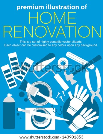 home renovation vector set - stock vector