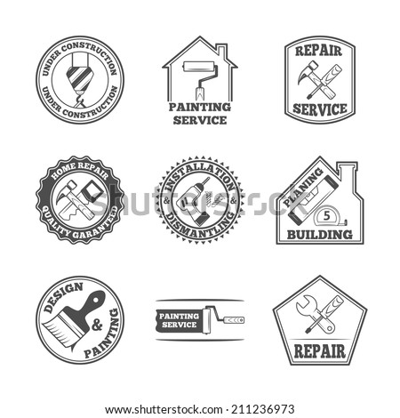 Home repair panting service quality building installation design labels set with black tools icons isolated  vector illustration - stock vector