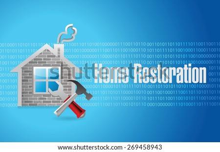 home restoration sign illustration design over blue - stock vector