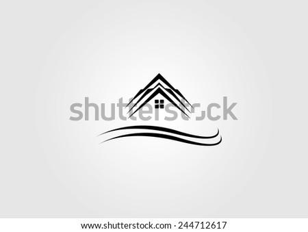 Home roof logo design - stock vector