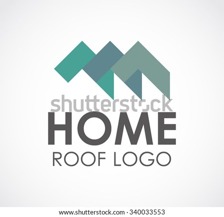 Home roof of ribbon abstract vector and logo design or template house property business icon of company identity symbol concept - stock vector