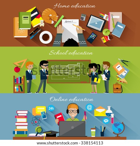 Home school and online education concept. Internet technology, computer e-learning, studying student, learning in university, knowledge and book, distance web study college illustration - stock vector