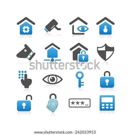 Home security concept icon set - Simplicity Series - stock vector