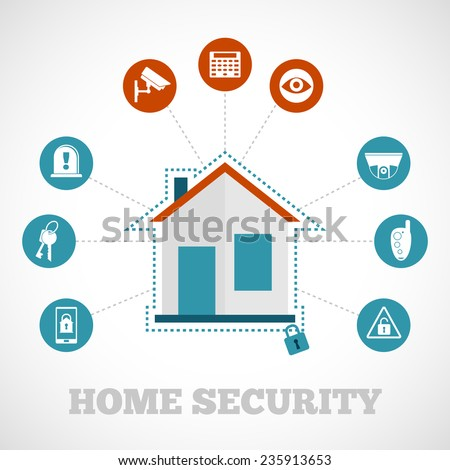 Home security concept with flat building protection icons set vector illustration - stock vector