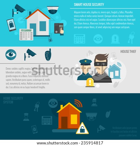 Home security flat banner set with smart house thief guard alarm system isolated vector illustration - stock vector