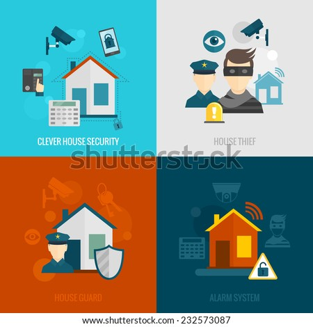 Home security flat icons set with clever house thief guard alarm system isolated vector illustration - stock vector