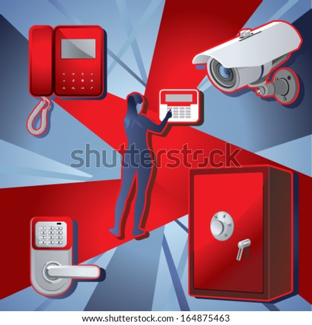 Home security system and property - stock vector