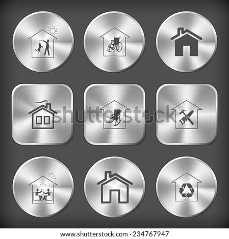 Home set. Vector round and square steel buttons. - stock vector