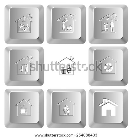 Home set. Vector set computer keys. - stock vector