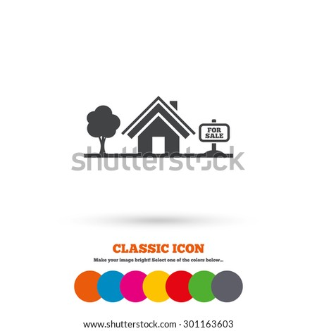 Home sign icon. House for sale. Broker symbol. Classic flat icon. Colored circles. Vector - stock vector