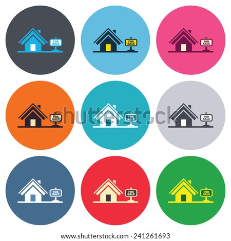 Home sign icon. House for sale. Broker symbol. Colored round buttons. Flat design circle icons set. Vector - stock vector