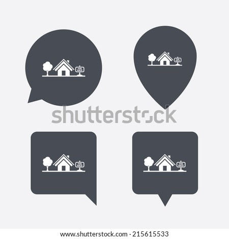 Home sign icon. House for sale. Broker symbol. Map pointers information buttons. Speech bubbles with icons. Vector - stock vector