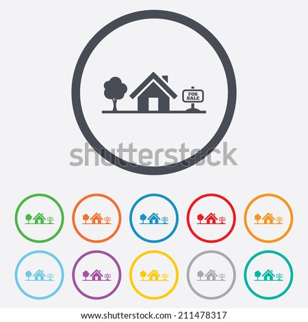 Home sign icon. House for sale. Broker symbol. Round circle buttons with frame. Vector - stock vector