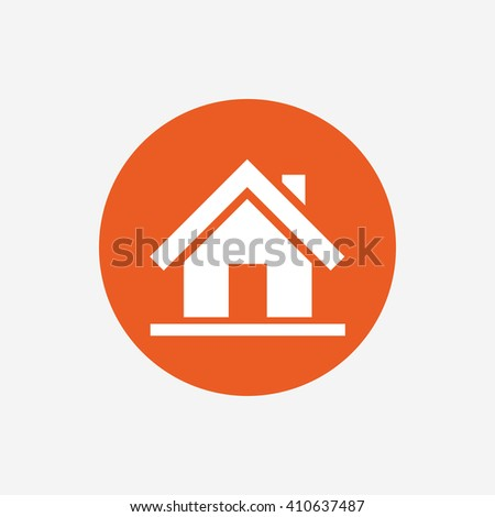 Home sign icon. Main page button. Navigation symbol. Orange circle button with icon. Vector - stock vector