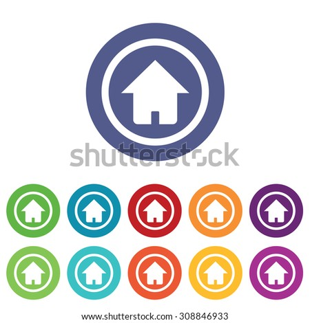 Home signs set, on colored circles, isolated on white - stock vector