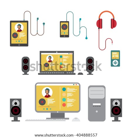 Home stereo on home computer flat vector illustration for music lovers - stock vector
