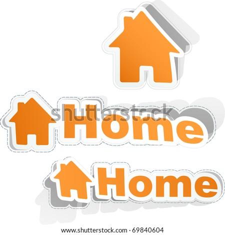 Home sticker set. Vector illustration. - stock vector