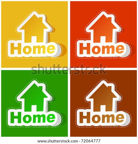 Home sticker set. Vector illustration. - stock vector