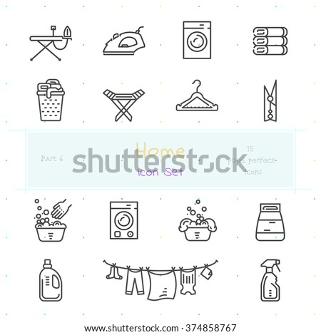 Home stuff outline icon set of 15 thin modern and stylish icons. Part 6 - laundry stuff. Dark line version. EPS 10. Pixel perfect icons. - stock vector