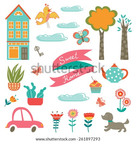 Home sweet home colorful set. Vector illustration - stock vector