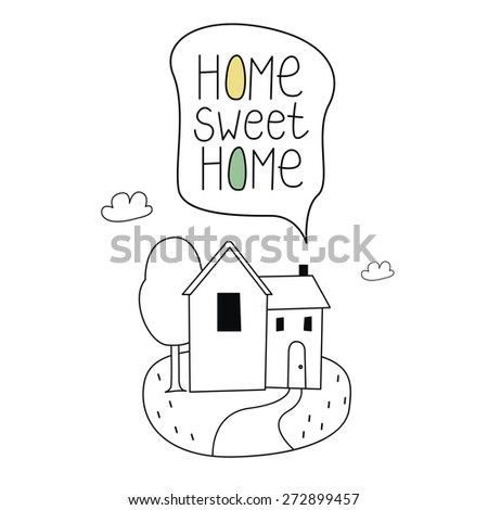 Home sweet home coloring illustration - stock vector