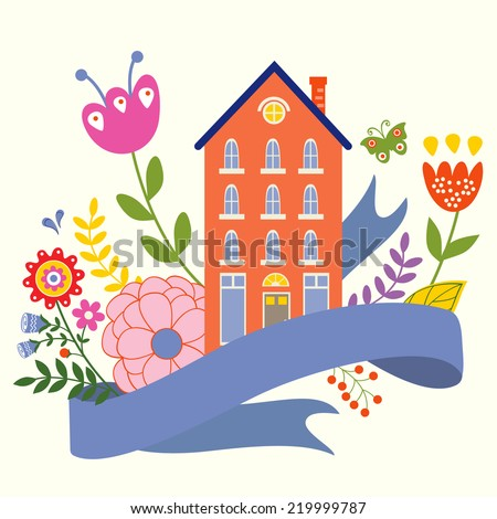 Home sweet home concept illustartion with house, ribbon and flowers - stock vector
