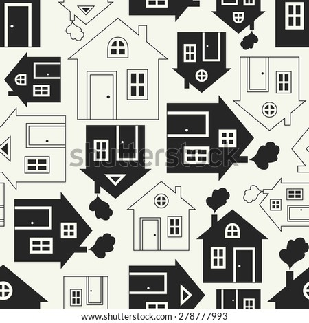 Home sweet home house silhouette and outline seamless pattern with window, door and smoke. Vector illustration for abstract geometric city design. Endless print background texture. Retro and vintage. - stock vector