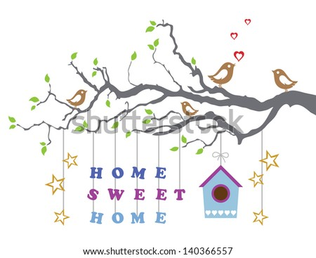 Home Sweet Home Moving In New House Greeting Card. This Image Is A Vector