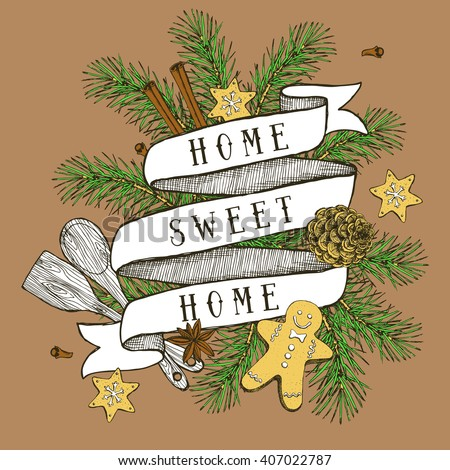 Home sweet home poster in vintage style, Christmas vector - stock vector