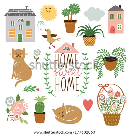 Home Sweet Home ,set of vector design elements - stock vector