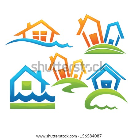 home sweet home, your own house near the sea - stock vector