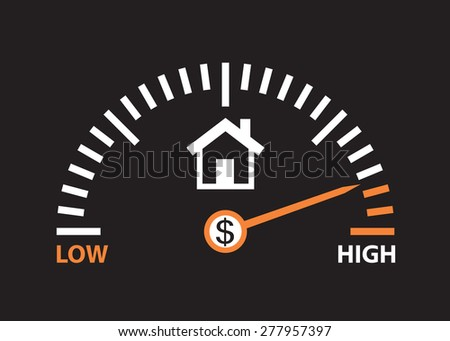 home value is high. real estate prices are going up   - stock vector