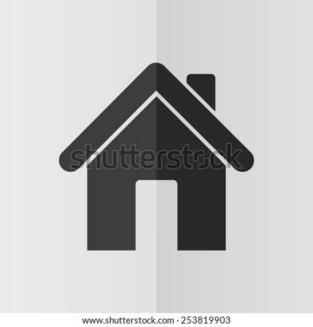 Home vector icon. Effect of folded paper. Flat design - stock vector