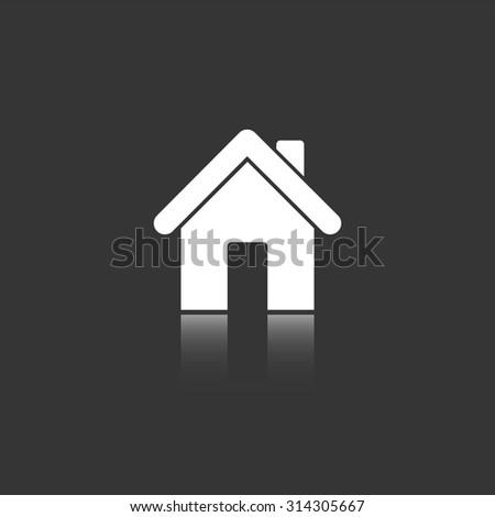 home vector icon with mirror reflection - stock vector