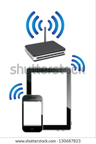 Home wifi network. Internet via router on  phone and tablet pc. - stock vector