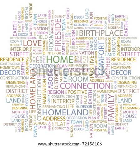HOME. Word collage on white background. Vector illustration. Illustration with different association terms. - stock vector
