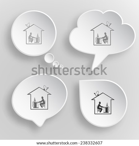 Home work. White flat vector buttons on gray background. - stock vector