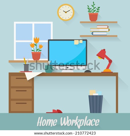 Home workplace flat vector design. Workspace for freelancer and home work. - stock vector