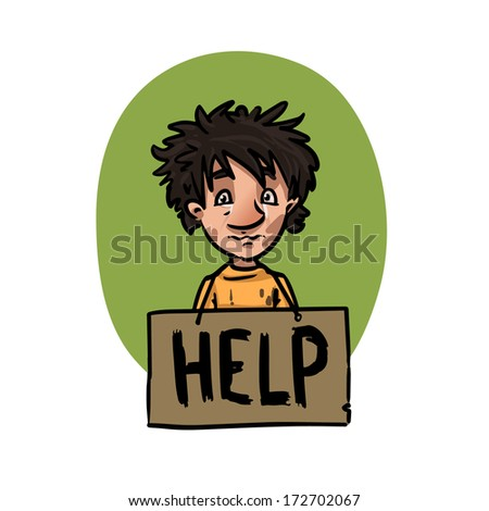 homeless children with help sign - stock vector