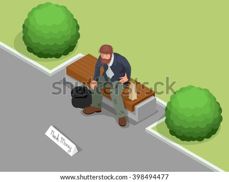 Homeless. Dirty homeless man holding sign asking for help. Flat 3d isometric vector illustration. Social problem concept. - stock vector