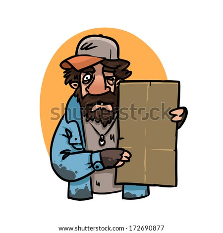 homeless man with blank sign - stock vector