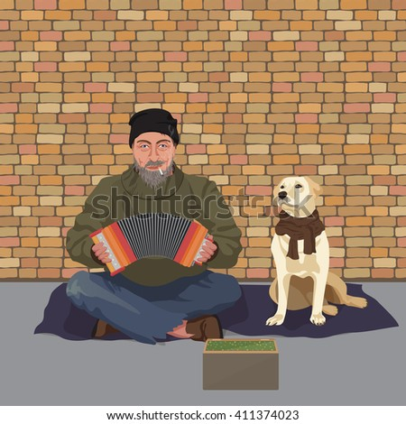 Homeless man with Dog. Shaggy man in dirty rags playing the accordion harmony. Asking for help. - stock vector