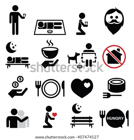 Homeless, poverty, man begging for money icons set  - stock vector