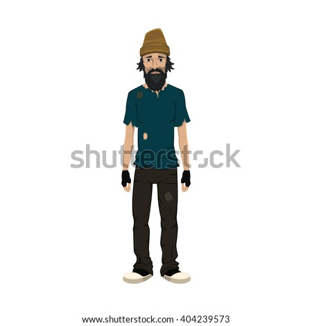Homeless skinny shaggy man in dirty old clothes. Homeless guy isolated on white background. Homeless character. Homeless human. Vector illustration. - stock vector