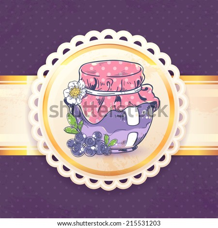 Homemade blueberry jam can retro background with paper badge vector illustration - stock vector